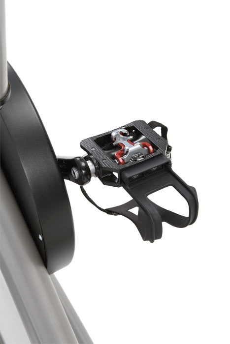 Dual Function Pedals - On one side is a stadard flat surface with a toe cage, and on the other is a premium SPD clip.
