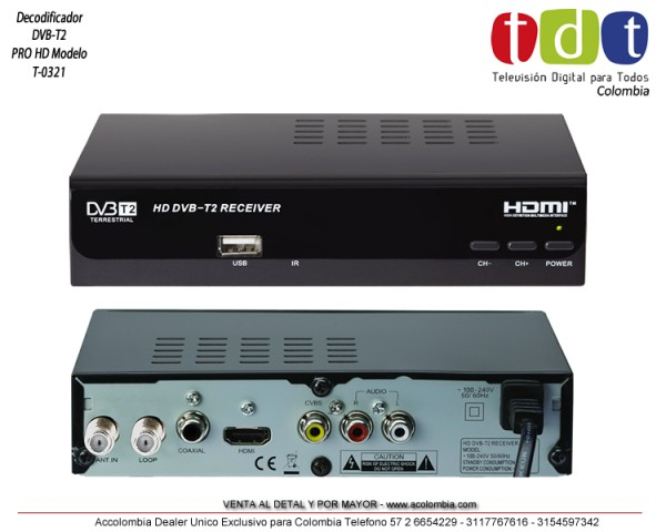 Decodificador DVB-T2 Pro HD Modelo T-0301 TDT Colombia 5